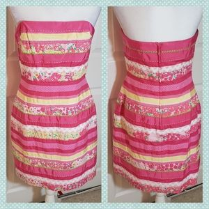 Lilly Pulitzer Strapless Patterned Stripes Dress